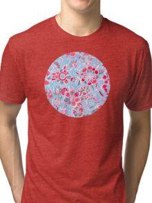 Sweet Spring Floral - cherry red & bright aqua Tri-blend T-Shirt