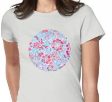 Sweet Spring Floral - cherry red & bright aqua Womens Fitted T-Shirt