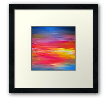 BRIGHT HORIZONS Colorful Rainbow Bold Multicolor Ombre Red Pink Yellow Blue Sunrise Sunset Abstract Painting Framed Print