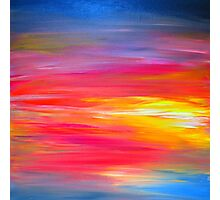 BRIGHT HORIZONS Colorful Rainbow Bold Multicolor Ombre Red Pink Yellow Blue Sunrise Sunset Abstract Painting Photographic Print