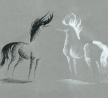 Blinding Darkness: Dark and Light Minimal Abstract Gel Pen Horses by Anila Tac
