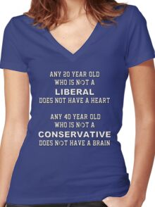 Any 20 year-old who is not a liberal does not have a heart.  Any 40 year-old who is not a conservative does not have a brain Women's Fitted V-Neck T-Shirt