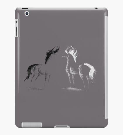 Blinding Darkness: Dark and Light Minimal Abstract Gel Pen Horses iPad Case/Skin