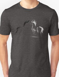 Blinding Darkness: Dark and Light Minimal Abstract Gel Pen Horses T-Shirt
