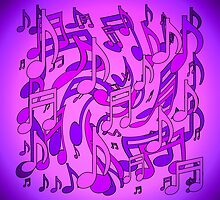 Ultra Violet Purple Pink Passion Music Notes by M Sylvia Chaume