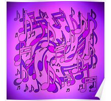 Ultra Violet Purple Pink Passion Music Notes Poster