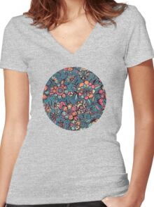 Sweet Spring Floral - melon pink, butterscotch & teal Women's Fitted V-Neck T-Shirt