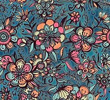 Sweet Spring Floral - melon pink, butterscotch & teal by micklyn