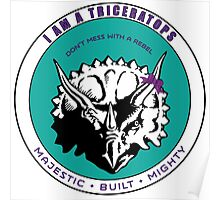 I am A Triceratops - Purple and Teal MBM Poster