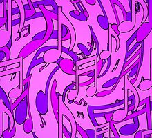 Ultra Violet Purple Pink Passion Music Notes 2 by M Sylvia Chaume