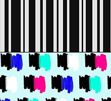 Colorful Retro Painted Brush Stroke Stripes by Blkstrawberry