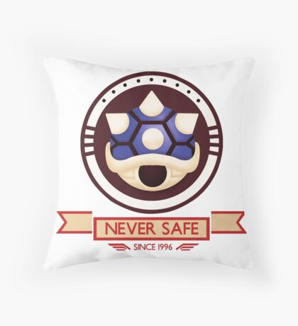 Never Safe - Mario Kart  Throw Pillow