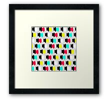 Colorful Retro Painted Brush Stroke Polka Dots Framed Print