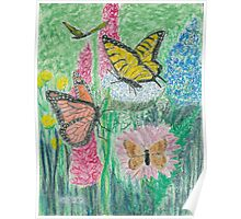 Butterflies and Flowers   -oil pastels Poster
