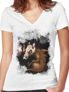Cubone in the woods Women's Fitted V-Neck T-Shirt