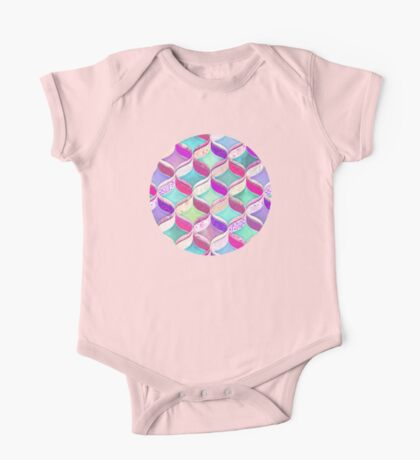 Patchwork Ribbon Ogee Pattern with Pink & Purple One Piece - Short Sleeve