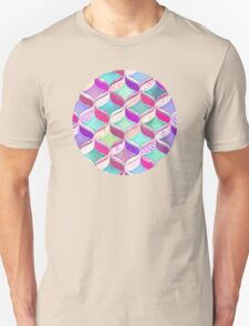 Patchwork Ribbon Ogee Pattern with Pink & Purple Unisex T-Shirt