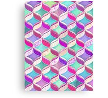 Patchwork Ribbon Ogee Pattern with Pink & Purple Canvas Print