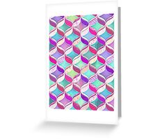 Patchwork Ribbon Ogee Pattern with Pink & Purple Greeting Card