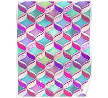 Patchwork Ribbon Ogee Pattern with Pink & Purple Poster