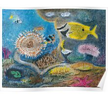 Dwellers of the coral reef -oil pastels Poster