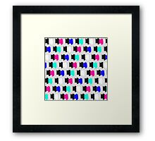 Colorful Retro Painted Brush Stroke Polka Dots Framed Print