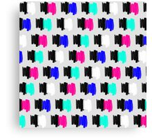 Colorful Retro Painted Brush Stroke Polka Dots Canvas Print