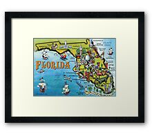 Cartoon Map of Florida Framed Print