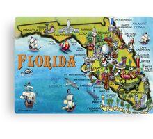Cartoon Map of Florida Canvas Print