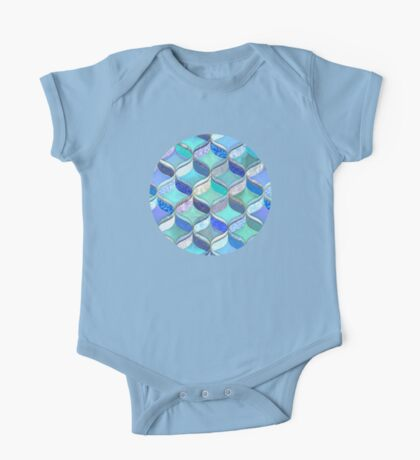 Patchwork Ribbon Ogee Pattern in Blues & Greens One Piece - Short Sleeve