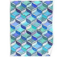 Patchwork Ribbon Ogee Pattern in Blues & Greens Poster