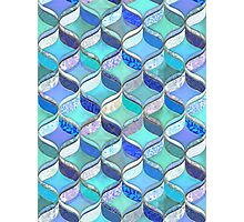 Patchwork Ribbon Ogee Pattern in Blues & Greens Photographic Print