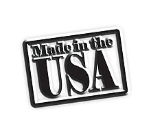 Made in the USA, American, America, in Black by TOM HILL - Designer