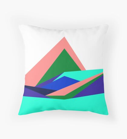 Pink Hills, Generative Art, Data Visualisation Throw Pillow