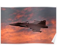 Swedish Air Force SAAB Gripen at Sunset Poster