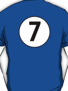 7, Seventh, Number Seven, Number 7, Racing, Seven, Competition, on Navy Blue T-Shirt