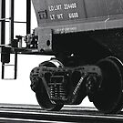 Trains - Freight Car in B&W on White Background by Buckwhite
