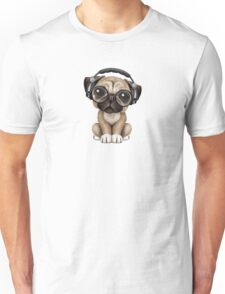 Cute Pug Puppy Dj Wearing Headphones and Glasses Unisex T-Shirt