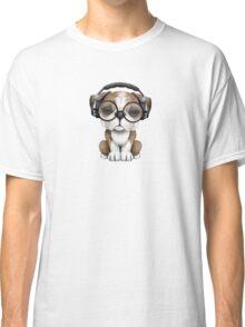 English Bulldog Puppy Dj Wearing Headphones and Glasses Classic T-Shirt