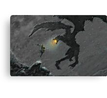 Warrior slaying Dragon Canvas Print