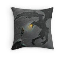 Warrior slaying Dragon Throw Pillow