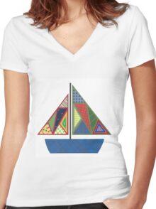 Kids Sailboat Women's Fitted V-Neck T-Shirt