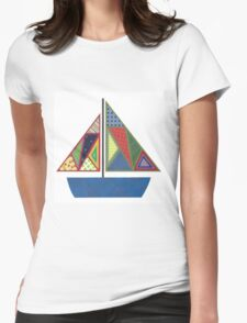 Kids Sailboat Womens Fitted T-Shirt
