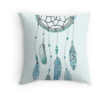 Blue Peacock Feather Tumblr Dreamcatcher Throw Pillow