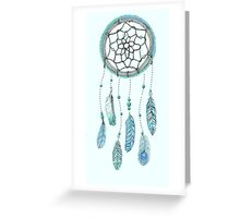 Blue Peacock Feather Tumblr Dreamcatcher Greeting Card