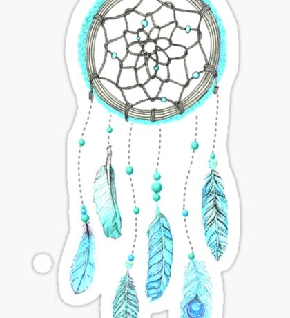Blue Peacock Feather Tumblr Dreamcatcher Sticker