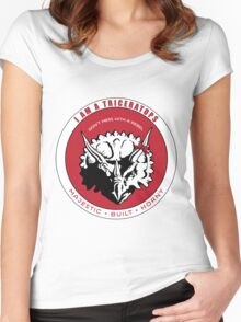 I AM A TRICERATOPS - Red/Black MBH Women's Fitted Scoop T-Shirt