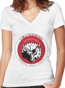 I AM A TRICERATOPS - Red/Black MBH Women's Fitted V-Neck T-Shirt