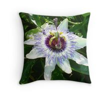 Beautiful Passion Flower With Garden Background Throw Pillow