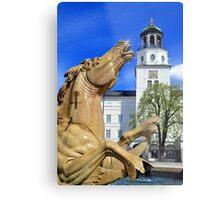 Horse Fountain in Salzburg Austria Metal Print